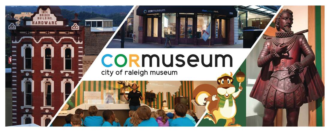 Picture of the COR Museum logo with Sir Walter Raleigh statue and image of the Briggs Hardware building